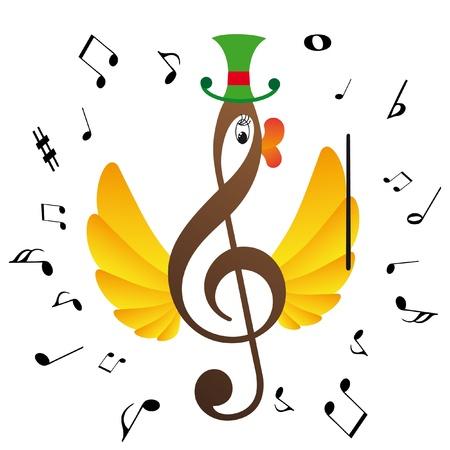 Treble clef  is bird Stock Vector - 10555555