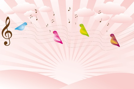 birdsong: Singing birds on sunrise Illustration