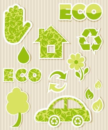 logo recyclage: Jeu de labels écologiques
