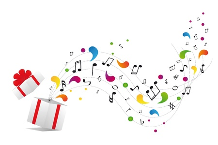 sixteenth note: music notes from gift box Illustration