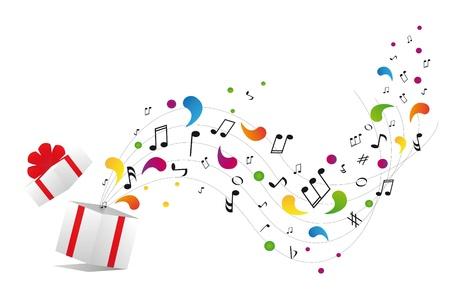 boite a musique: notes de musique � partir coffret cadeau Illustration