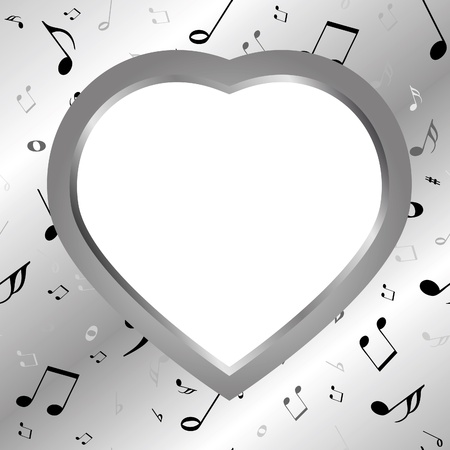 musical ornament: Iron heart from music background