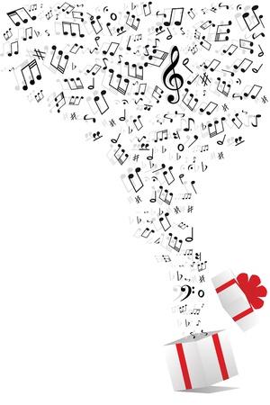 boite a musique: des notes de musique de bo�te de cadeau Illustration