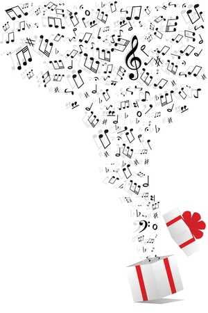musical ornament: music notes from gift box Illustration