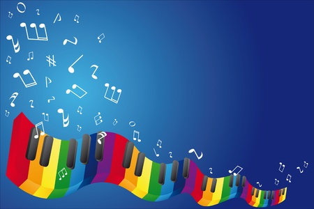 sixteenth note: Music background with music notes and piano keyboard