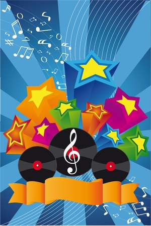 g clefs: Music background: vinil, notes, stars
