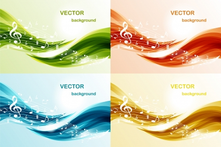 Set of music background Stock Vector - 10555978