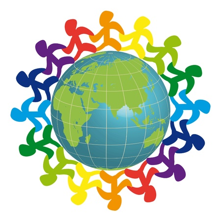 Logo - people on the earth Vector