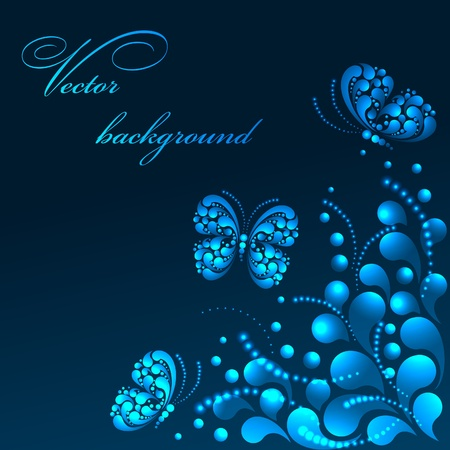 Vector butterfly and flower Vector