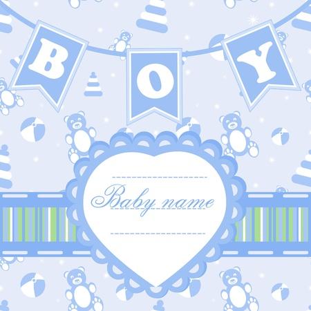 new born baby boy: Posrcard for boy Illustration