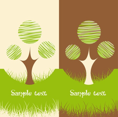recycling logo: Set of two Nature backgrounds Illustration