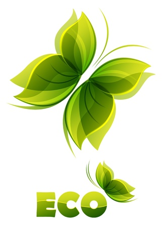 insect on leaf: Eco logo - two  green butterflies