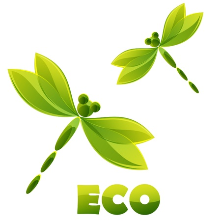 environmental conservation: Logo - green dragonfly