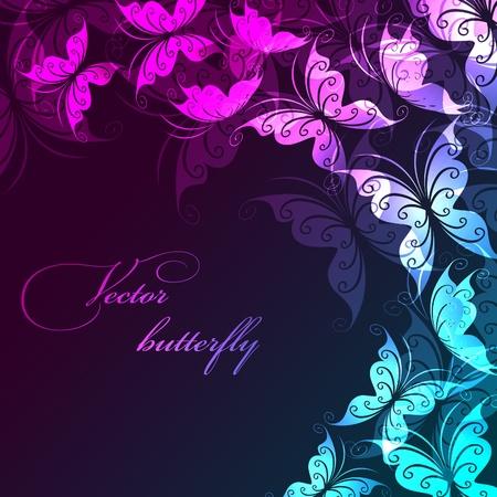 papillon rose: Vecteur de fond avec les papillons Illustration