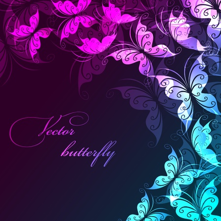 pink butterfly: Vector background with butterflies