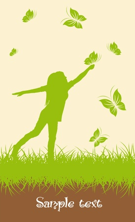 Ecology background - girl with butterlies Vector