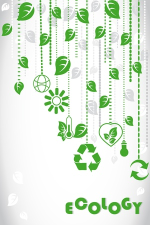 eco building: Ecology background with eco signs Illustration