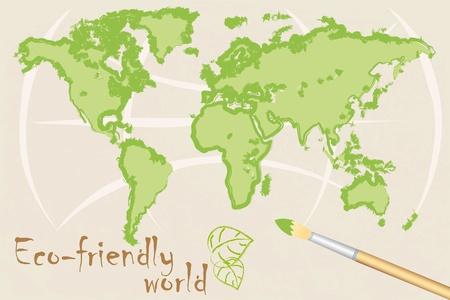 なでる: 環境に優しい世界の地図