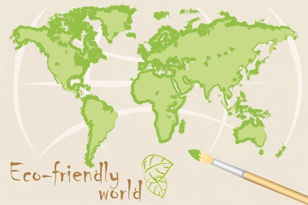 map of eco-friendly world  Vector