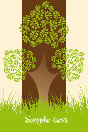 Ecological Background with tree Vector