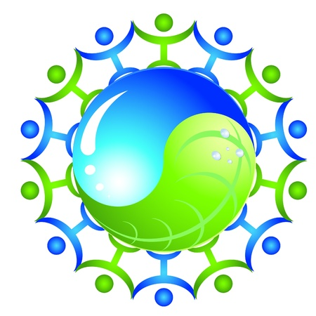 logo - ecology yinyang with people Vector