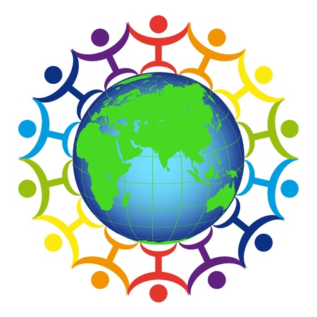 logo terre: Logo - les gens sur la terre Illustration