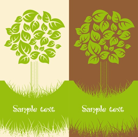 recycle logo: Set of two Nature backgrounds Illustration