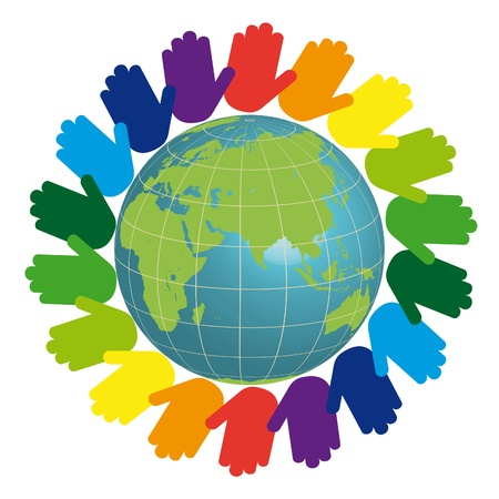 hands holding earth: Eco logo - earth and color hands