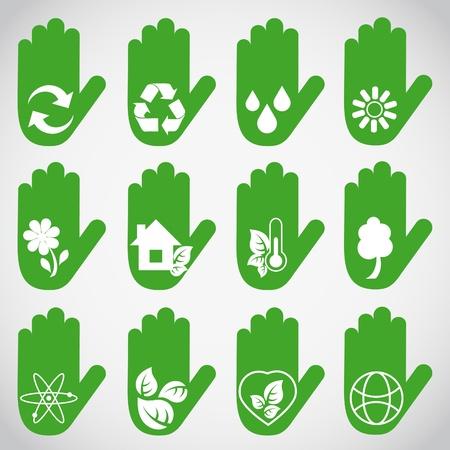 logo recyclage: Les mains écologique