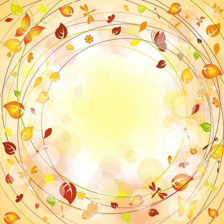 mariposas amarillas: Otoño de fondo con hojas de colores y mariposas Vectores