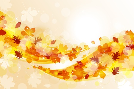 autumn leaf: Flying autumn leaves background Illustration