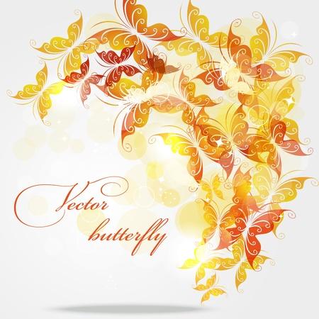 mariposas amarillas: Fondo abstracto con mariposas de color