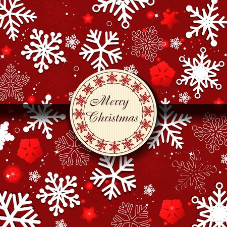 red christmas card with snowflakes Stock Vector - 10747271