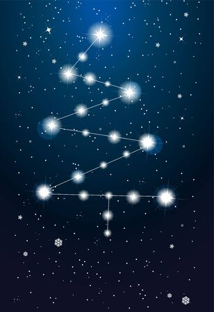 Constellations - christmas tree on the sky Vector