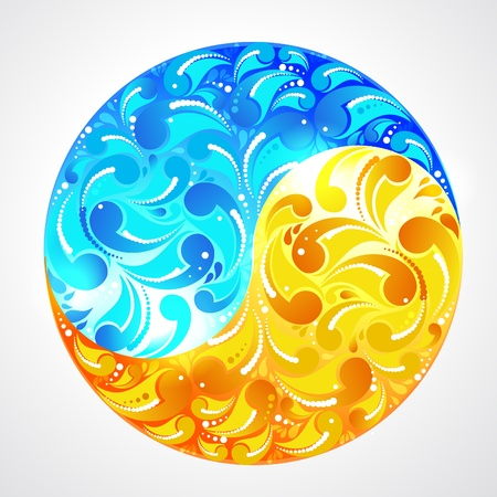yinyang:  ecology yinyang - water and sun Illustration