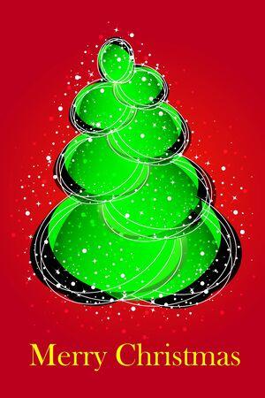 Christmas card - christmas tree on red Vector