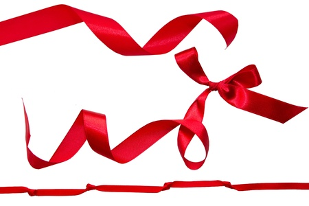 red silk: Set of red ribbons Stock Photo