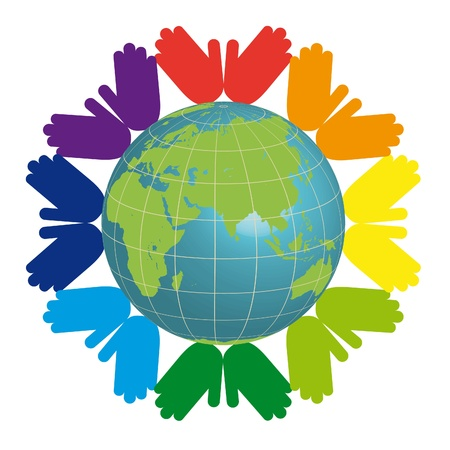 earth and color hands Vector