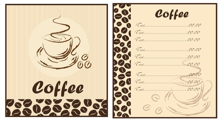 Set of two templates Coffee shop menu Vector