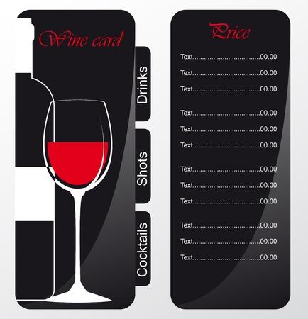 wine list: Templates of alcohol card Illustration
