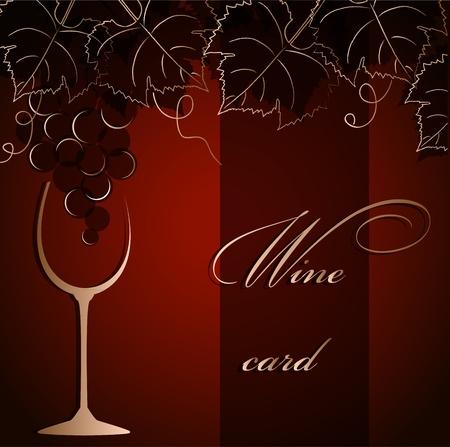 hojas parra: Plantilla de la tarjeta de alcohol con uvas y una copa de cristal