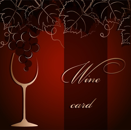 vine leaf: Template of alcohol card with grapes and  a glass goblet