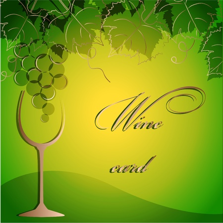 Template of alcohol card with grapes and  a glass goblet Vector