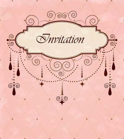 chandelier: Invitation vintage card Illustration