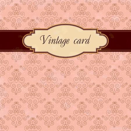 pink and brown: vintage card Illustration