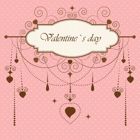 scroll shape: Vintage valentine`s card