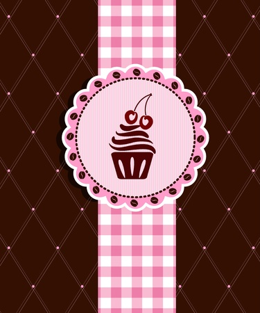 cupcake illustration: Postcard with cupcake Illustration