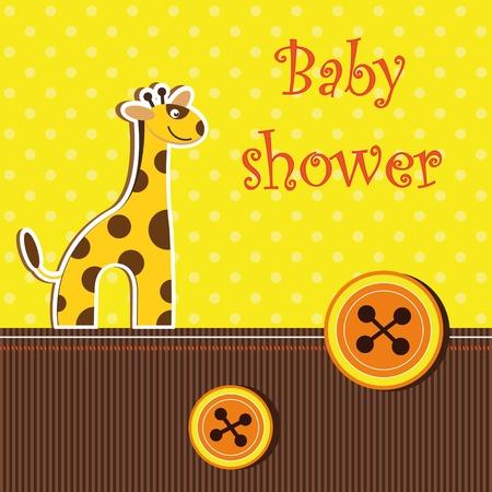 shower card with  giraffe Illustration