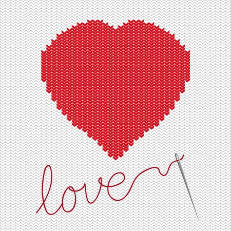 Knitted with heart Vector