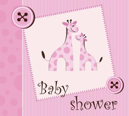 girl pink: baby shower - girl Illustration